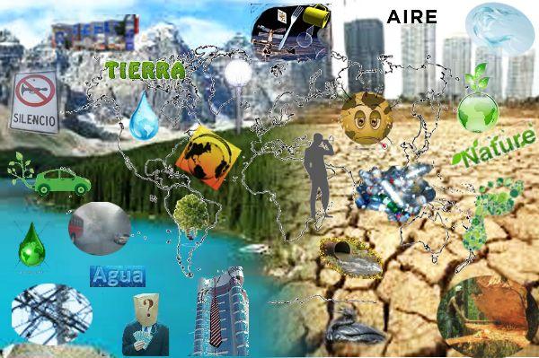 Relación Economía y Ecología: sobre la base de una fusión de imágenes de paisajes opuestos se aplicó con diferentes herramientas de GIMP, fotos y gráficos que muestran los distintos tipos de contaminación ambiental , tierra, aire, agua y espacio. Reflexión sobre la responsabilidad social y empresarial ambiental.