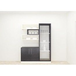 Cleverly Crafted Crockery Unit With Black And White Color Combination Adds An Absolute Look To The