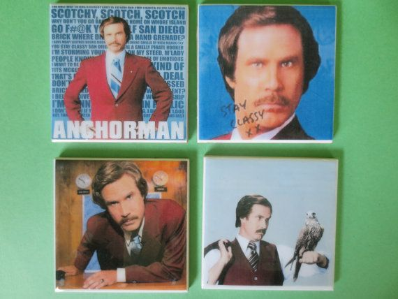Anchorman ron burgendy coaster set. awesome Etsy listing at https://www.etsy.com/listing/195373169/ron-burgendy-anchorman-4-pc-coaster-set