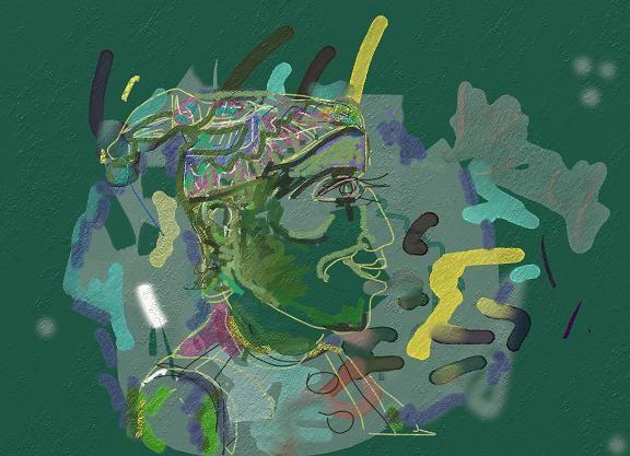 "Victor Shmokhin  ""Клоун в профиль"".2010г Бумага/компьютерное. искусство. 40х43. (#3.977)."
