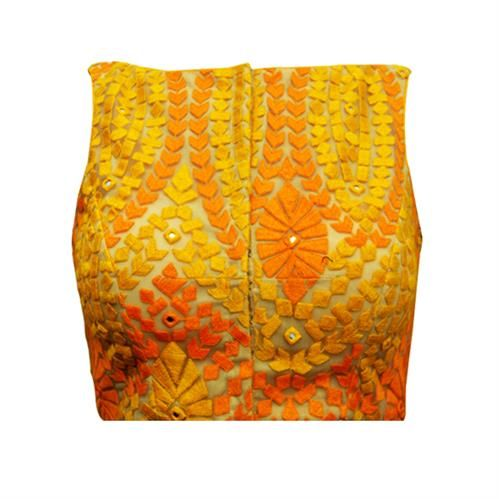 DESCRIPTION: An airy sleeveless in a classic boat neck style. This head turner in cheery yellow and orange threadwork, is truly chic in it's simplicity. #saree #blouse #sareeblouse #blousedesigns #desi#designerblouses
