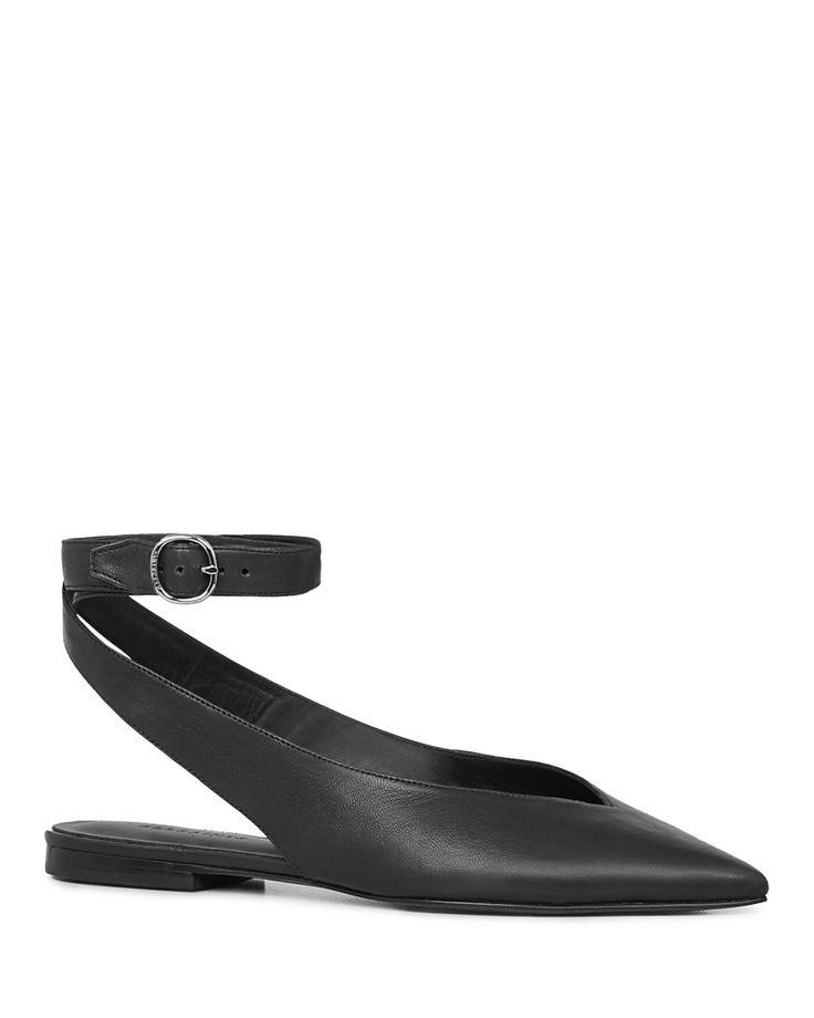 ALLSAINTS ALLSAINTS Cory Leather Pointed Toe Slingback Flats. #allsaints #shoes #
