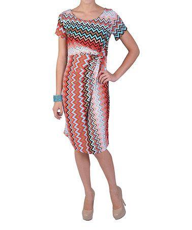 Orange Chevron Gathered-Side Dress - Plus by Journee Collection #zulily #zulilyfinds