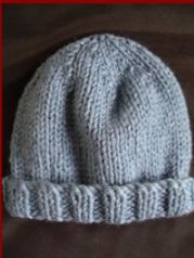 FREE knitting pattern for a childs, 12ply, beanie.