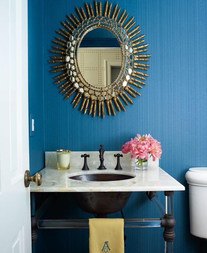 powder bath |wall Lindsey Coral Harper Interiors