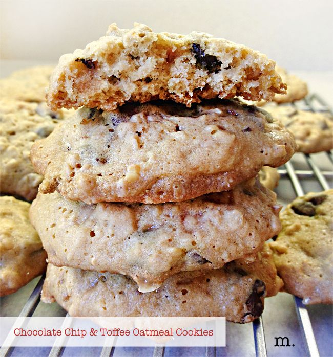 Chocolate Chip and Toffee Oatmeal Cookies
