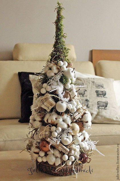 Елочка из хлопка - бежевый,настольная елка,хлопок,новый год 2014,оригинальная елка