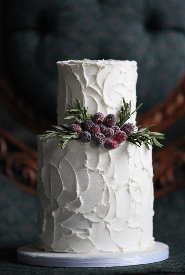Berries and buttercream: Textured buttercream gives a cake a deliberately messy and handmade look, almost as if you frosted the cake yourself. This look is great for more-casual winter weddings. Finish off the confection with a simple decoration of rosemary sprigs and sugared cranberries.