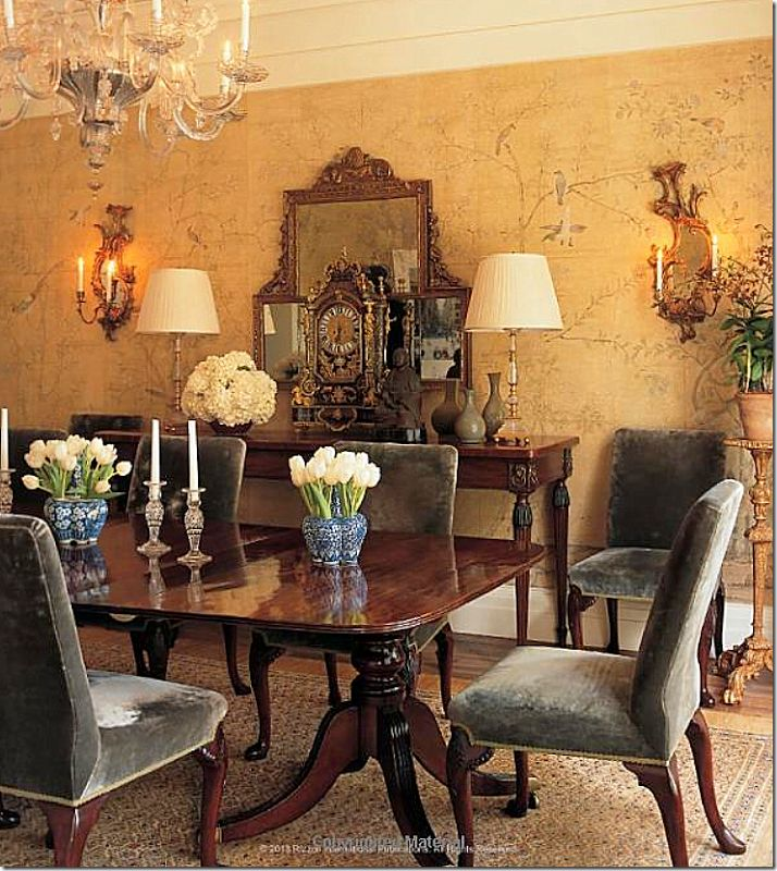 designer Michael Smith was also instrumental in the rising popularity of hand painted wallpaper. He frequently uses it in his dining rooms....