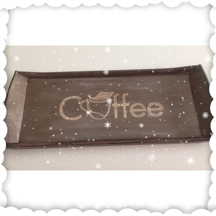 Ahşap boyama kahve tepsisi
