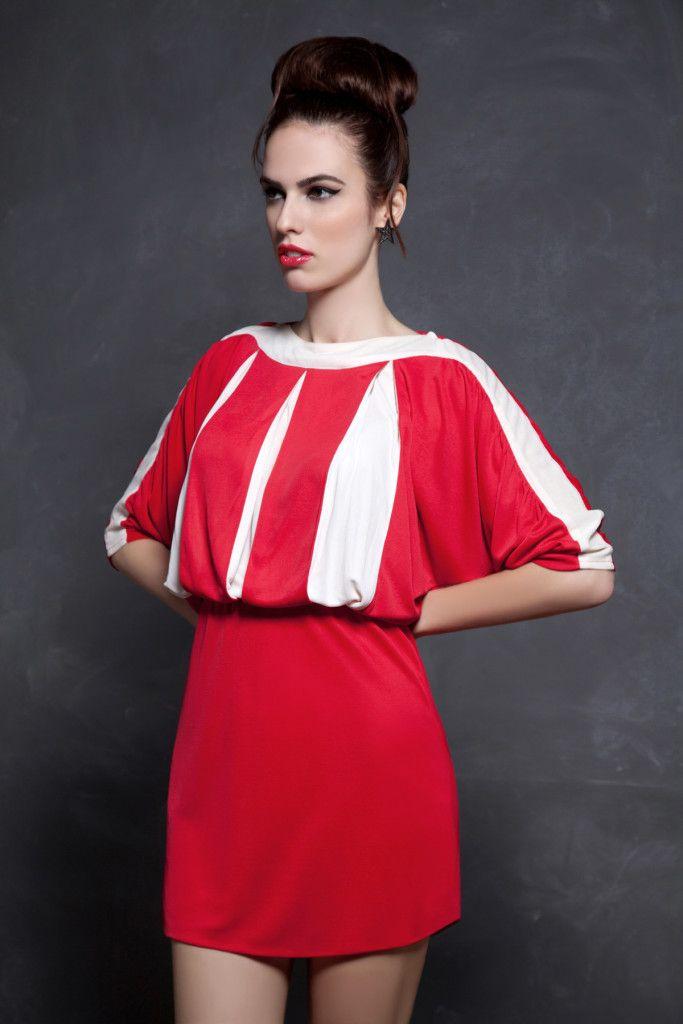 SARTORIAL   Chryssomally    Art & Fashion Designer - Red pleated mini dress