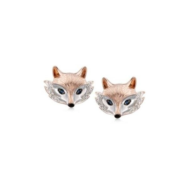 Ross-Simons .10ct t.w. Sapphire, .10ct t.w. Diamond Fox Stud Earrings... ($146) ❤ liked on Polyvore featuring jewelry, earrings, silver jewelry, sapphire stud earrings, diamond earrings, diamond stud earrings and ross simons jewelry