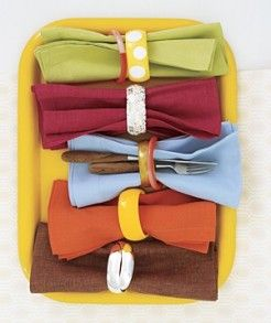 repurpose bracelets as napkin rings