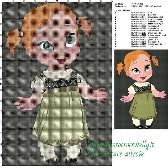 Baby Anna Frozen schema punto croce gratis disney 100x149 16 colori