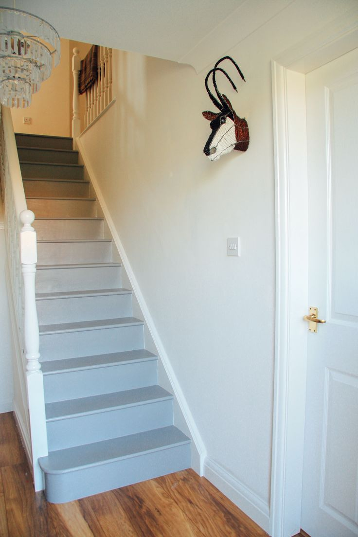 Grey wooden staircase