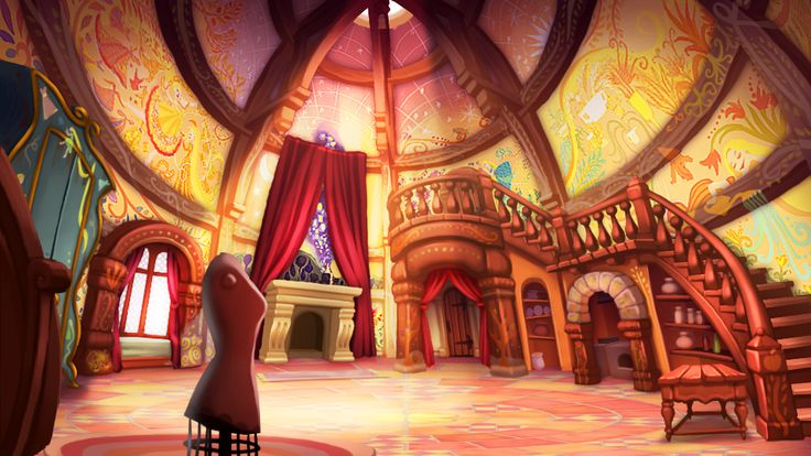 "Rapunzel Fortress Room Concept Art This is concept art for a Nintendo game, ""Epic Mickey: Power of Illusion."""