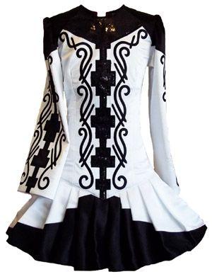 This Irish dance dress caught my eye with the pleats on the white overlay skirt.
