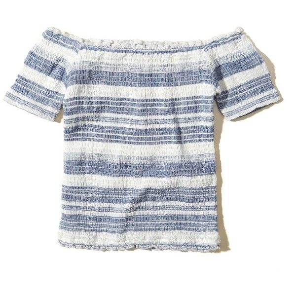 Hollister Smocked Off-The-Shoulder Top (£20) ❤ liked on Polyvore featuring tops, blouses, blue stripe, stripe blouse, blue striped top, blue stripe blouse, cotton blouse and striped blouse