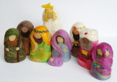 Wool felted nativity