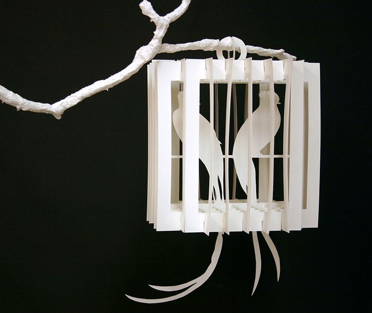 "Collapsible paper birdcages, built from sliceforms. Cut and assembled by hand. Inspired by the paper creations of Masahiro Chatani Various sizes, up to 12"" Unique set 2011"
