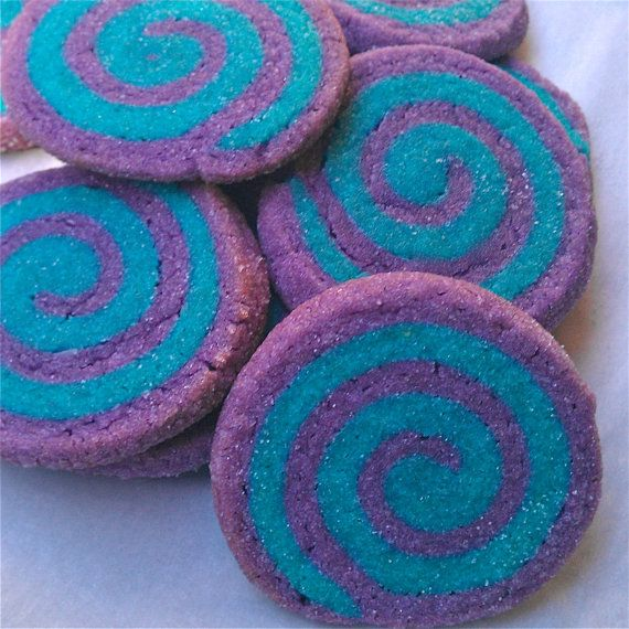 1.5 Dozen Purple and Turquoise Pinwheel Cookies l Sugar Cookies l Birthday Mitzvah Wedding Cookie Buffet Favor. $16.00, via Etsy.