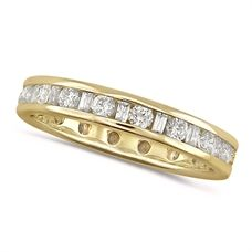 House of Williams 18ct Yellow Gold Ladies Channel Set Diamond Full Eternity Ring Set With 1ct Of Round And Baguette Cut Diamonds