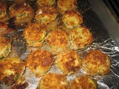 parmesan crusted zucchini. baked! Adi had these at olive garden and devoured them!