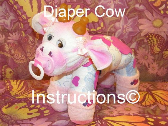 How to make a cow from Diapers. Diaper Cake Keepsake. GR8 baby shower gift, diaper cake topper, centerpiece, farm animal.
