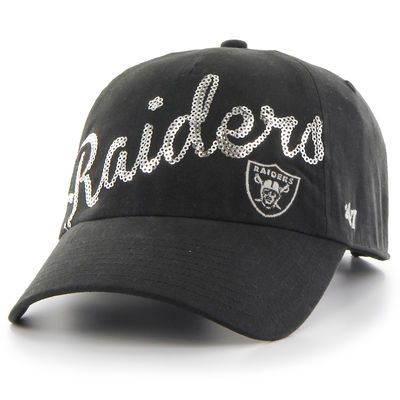 Oakland Raiders '47 Brand Women's Sparkle Script Clean Up Adjustable Hat - Black