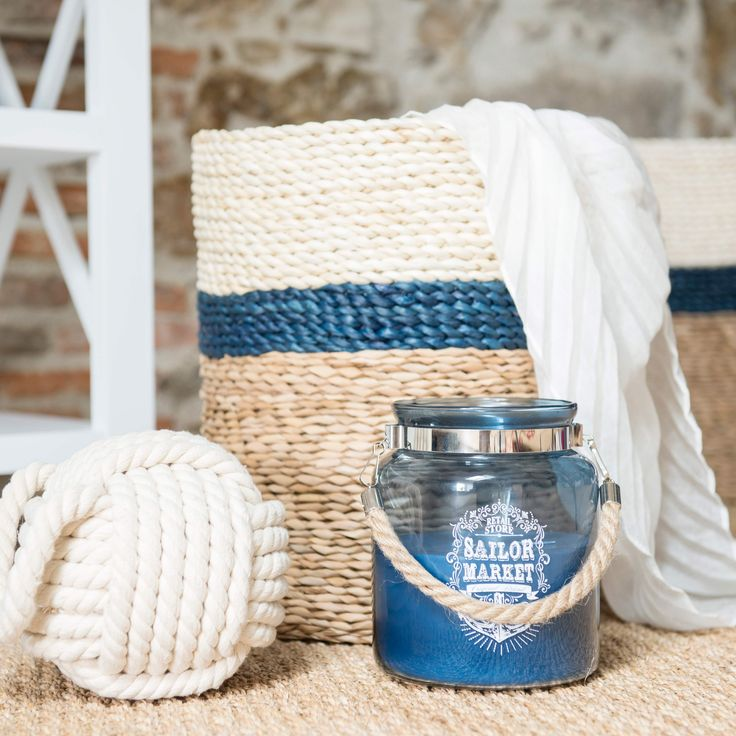 Bougie lanterne bleue H 17 cm | Maisons du Monde