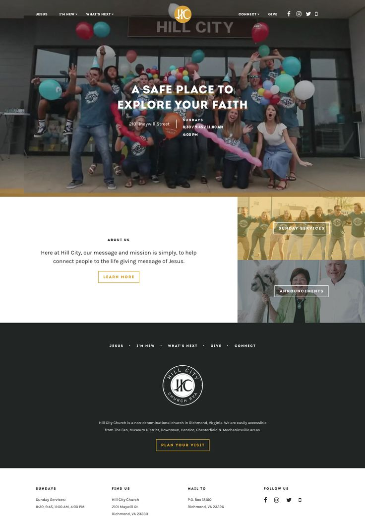 Like the big video hero image. The messages for this #church website are encouraging and outward-focused. #photography #orange #gray #black