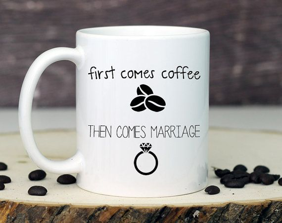 This wedding mug is the perfect wedding gift to give at an engagement party or bridal shower. PICTURED WEDDING MUG DETAILS: 1. 11 oz white ceramic mug 2.