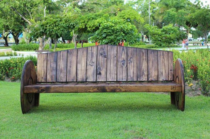 Wooden Pallet and Spool Wheel #Bench - 150+ Wonderful Pallet Furniture Ideas | 101 Pallet Ideas - Part 6