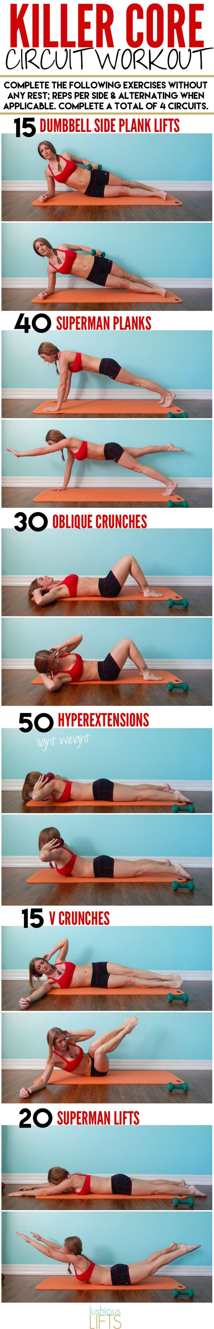 Nothing but 30 minutes of toning and tightening with this Killer Core Circuit Workout || lushiouslifts.com #abs #core #workout