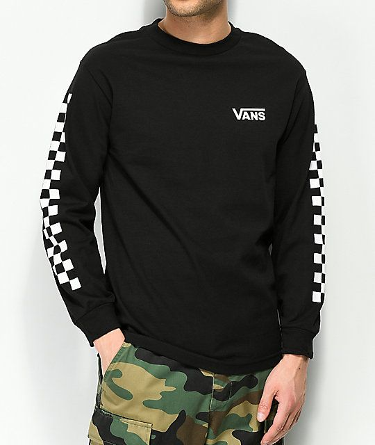 c7f1211705 Vans Checker Side Stripe Black Long Sleeve T-Shirt in 2019