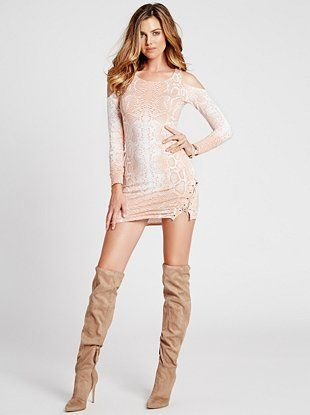 GUESS - LONG-SLEEVE OMBRE PYTHON-PRINT LACE-UP DRESS