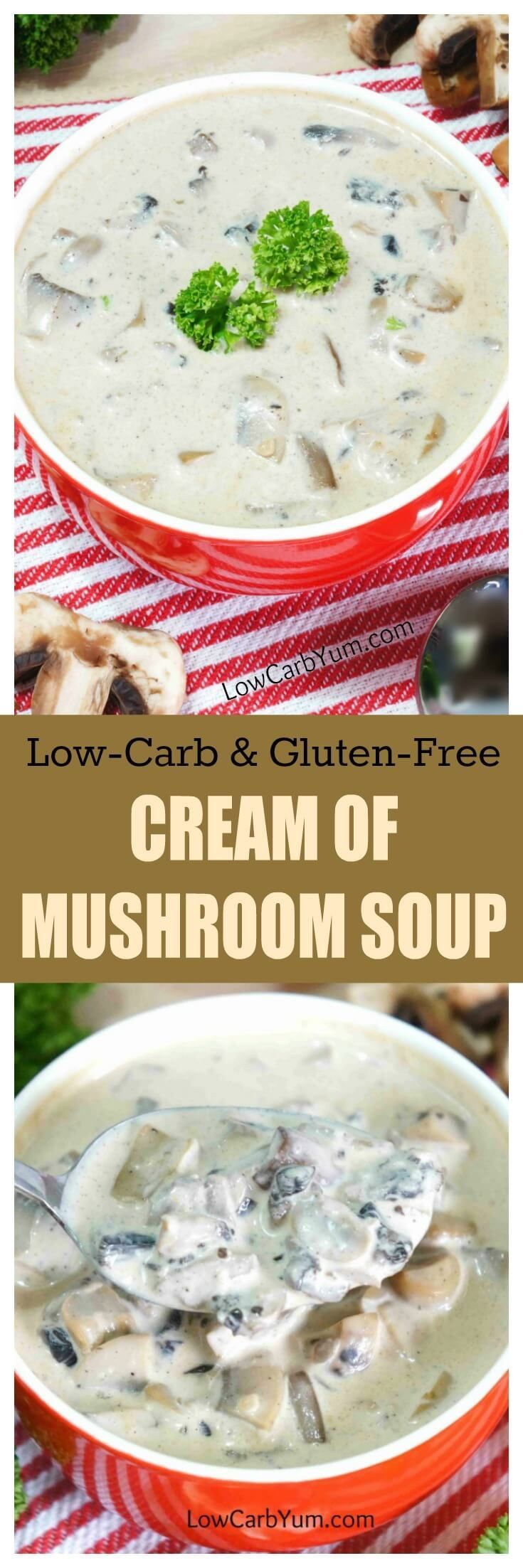 Cream of mushroom soup often contains high carb thickeners. This low carb gluten free cream of mushroom soup uses a gum thickener instead.