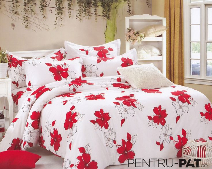 Lenjerie de pat bumbac Pucioasa cu anemone rosii si albe