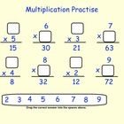 This is a Smartboard Interactive Whiteboard file.  There are 6 pages in this file. Page 1  Contains multiplication questions with blank spaces in w...