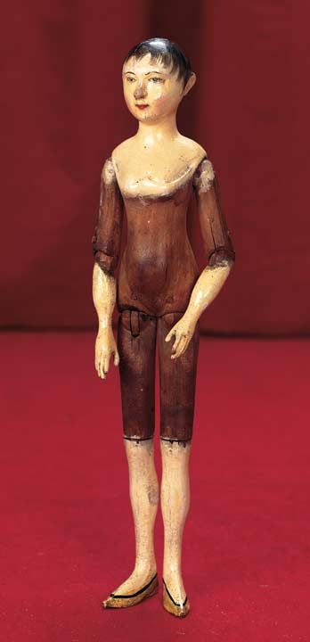 "Late 18th ce carved wooden doll in a petite 12"" size. http://Theriaults.com"