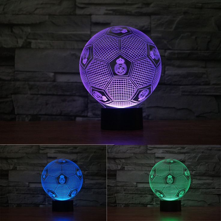 2017 NEW 3D Illusion Lamp Madrid Soccer Colorful Night Lights 3D Visual lights Real Robinho Desk Luminaria Touch Switch Football #Affiliate