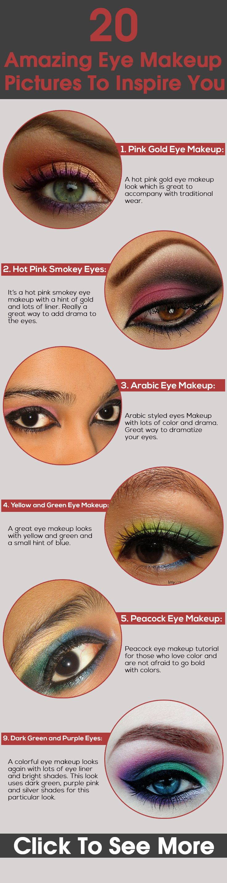 Eye makeup is a great way to make your eyes look more beautiful.So look at some of the great eye makeup pictures that will leave you wanting more!!