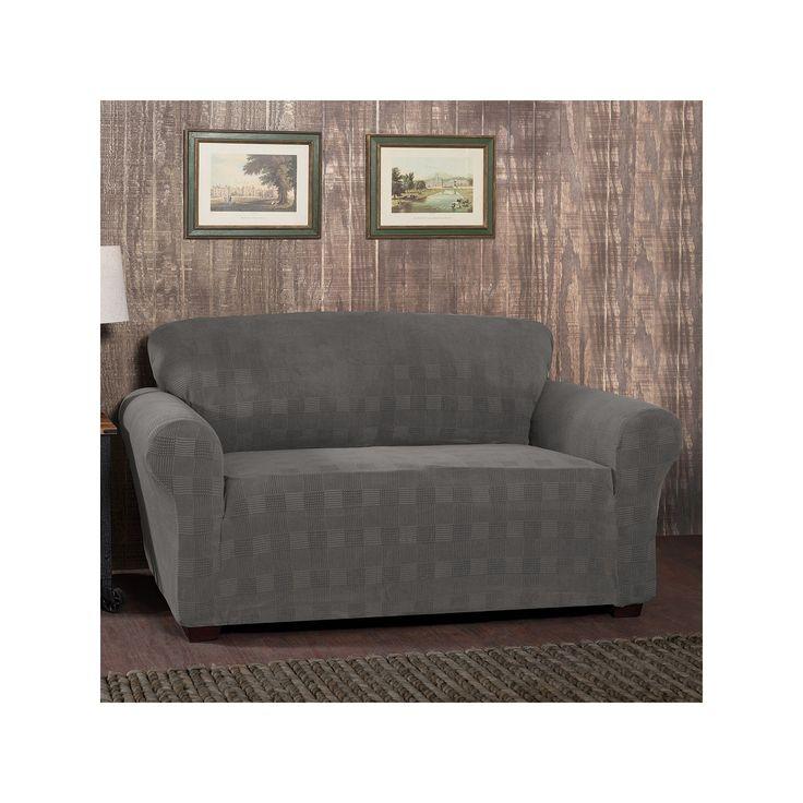 Stretch Sensation Stretch Plaid Sofa Slipcover, Silver
