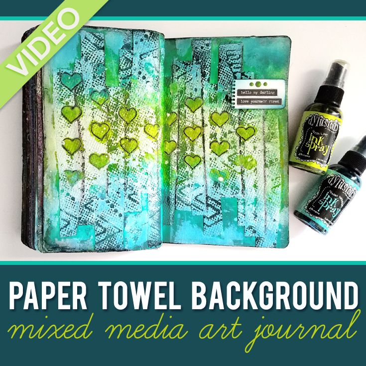 Paper Towel Background + Dylusions Spray Inks - #mixedmedia #artjournaling