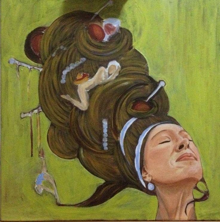 """Il bozzetto della tela intera. Io- Souzanne Valadon, con il particolare studio sviluppato sui capelli. Notare gli spilloni e le innumerevoli donne che vi danzano... a simboleggiare le tante sfaccettature della donna, della modella, dell'artista, della madre, della moglie... di Souzanne """"La figlia della tempesta""""."""