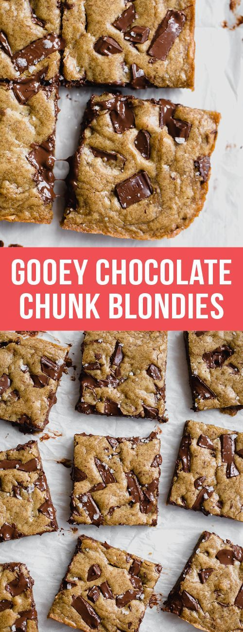 Ultra flavorful Gooey Chocolate Chunk Blondies are ridiculously chewy, gooey, and absolutely loaded with chunks of chocolate. 35 minutes, no mixer required. Baking tips & tricks listed below! #chocolatechip #chocolate #blondies #cookies #recipe #food #dessert #dessertrecipes