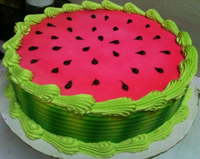 Watermelon ice cream cake Watermelon stuff always reminds me of you and your mom.