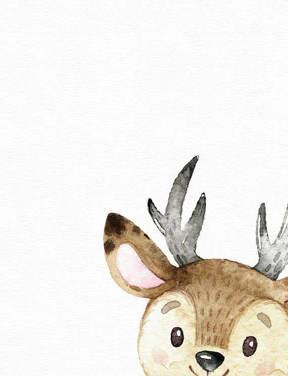 Woodland animal art – Watercolor deer print – Nursery wall art – Cute baby girl art – Watercolor nur – Aquarelle