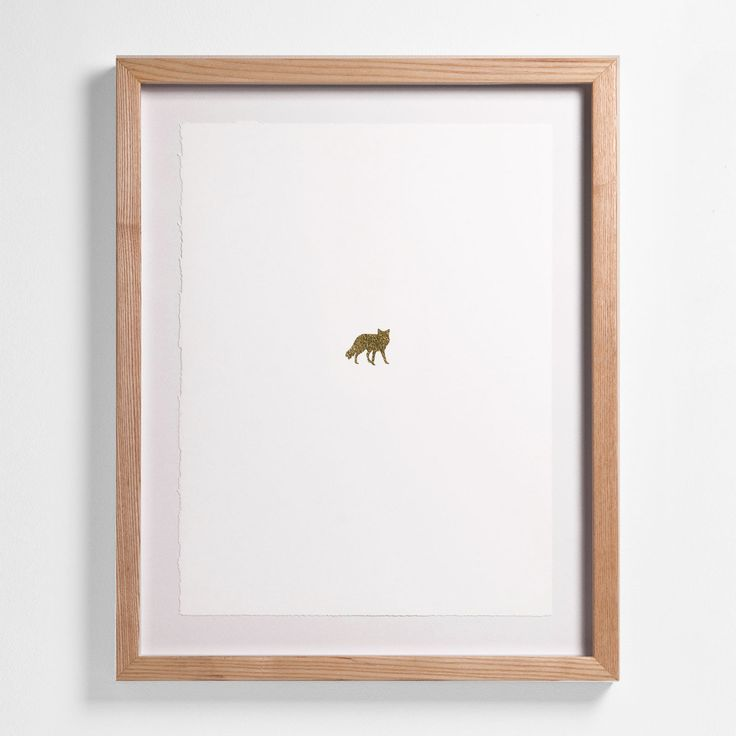 "Arctic Fox: 20"" H x 16"" W Floated and Dry Mounted - Gold Leaf Foil on Fine Art Paper, Torn Edges  Natural - Wood Ash Frame #artsquaredinc #art #design #gold  #goldleaf #Artimals #animalart #Canadiana #GreatNorth #fox #arcticfox"
