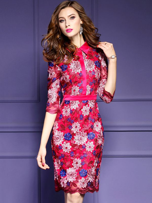 Shop - Rose Red Embroidered Floral Bodycon Dress on Metisu.com. Discover stylish and vogue women's dresses for the season. Regular discounts up to 60% off.